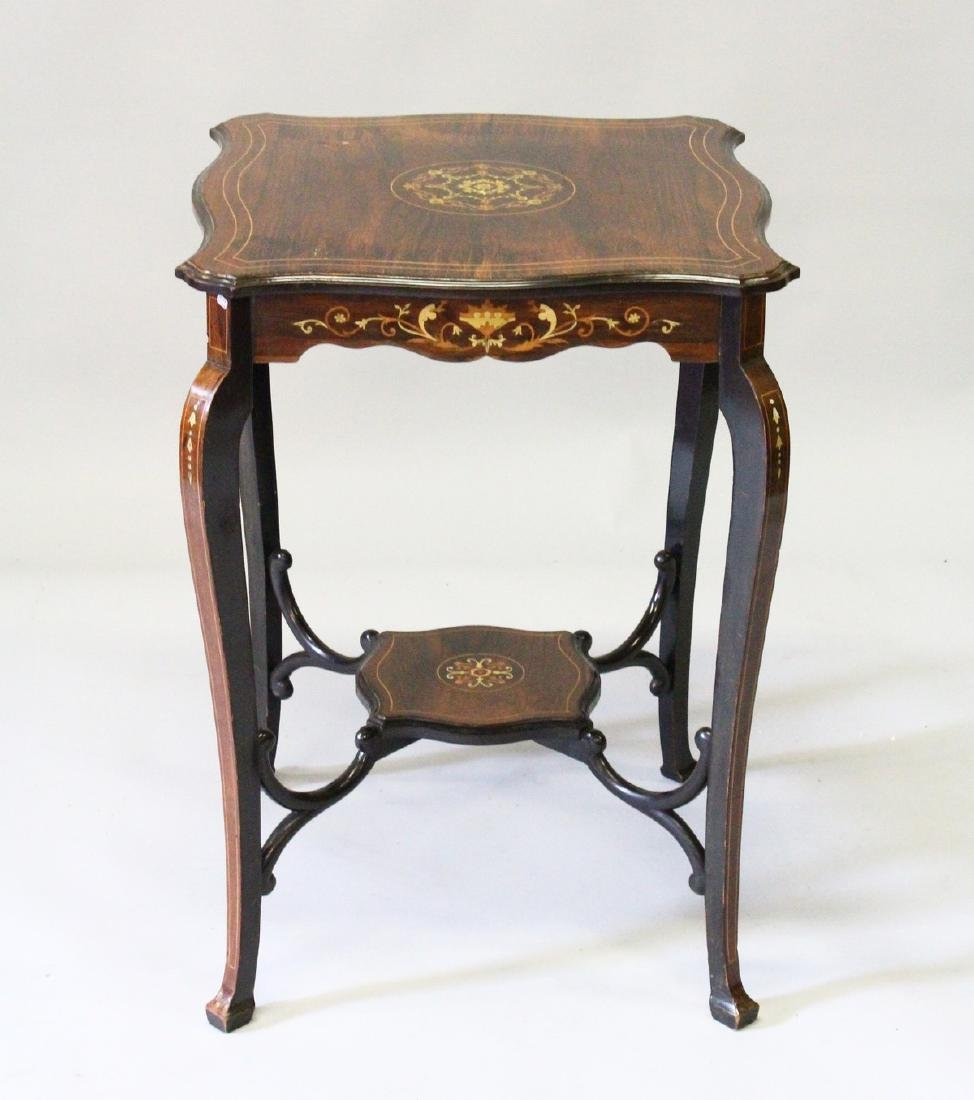A VICTORIAN ROSEWOOD INLAID SQUARE TOP OCCASIONAL TABLE - 2