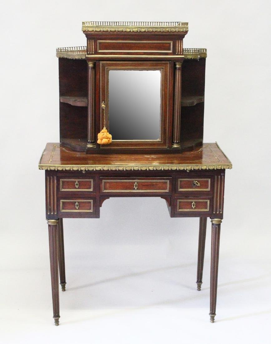 A GOOD 19TH CENTURY FRENCH MAHOGANY DESK, the upper