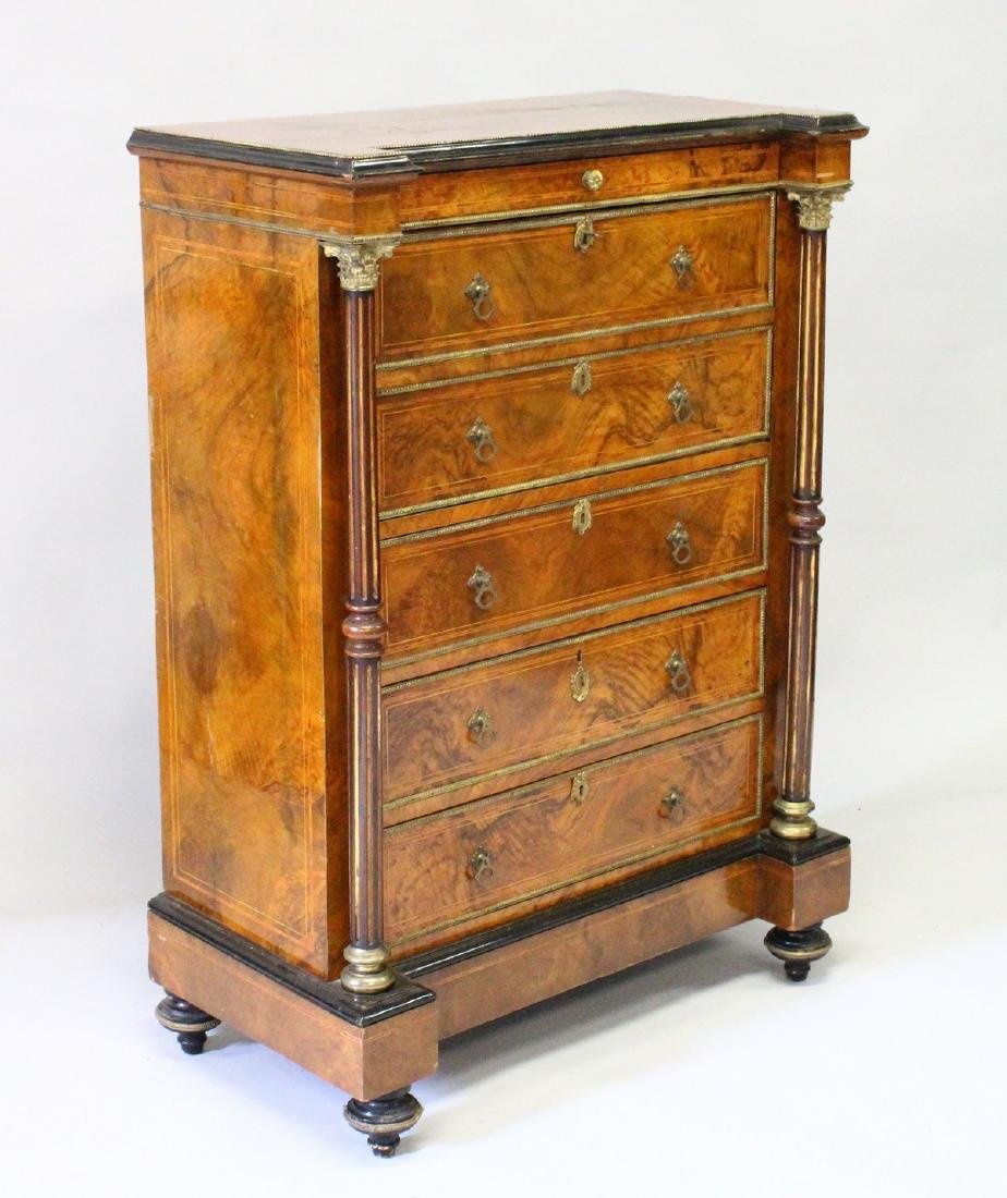A GOOD 19TH CENTURY FRENCH FIGURED WALNUT SECRETAIRE