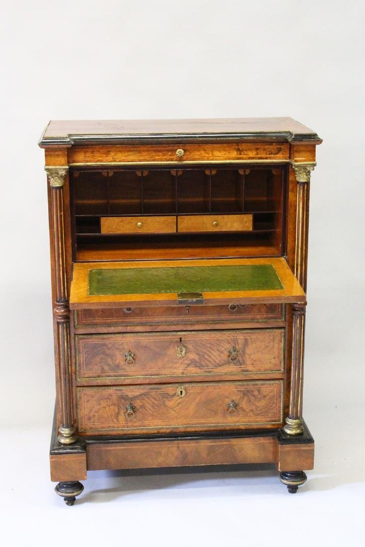 A GOOD 19TH CENTURY FRENCH FIGURED WALNUT SECRETAIRE - 2
