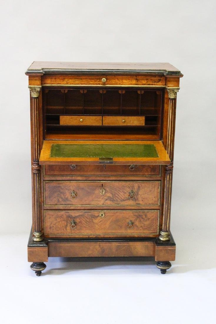 A GOOD 19TH CENTURY FRENCH FIGURED WALNUT SECRETAIRE - 3