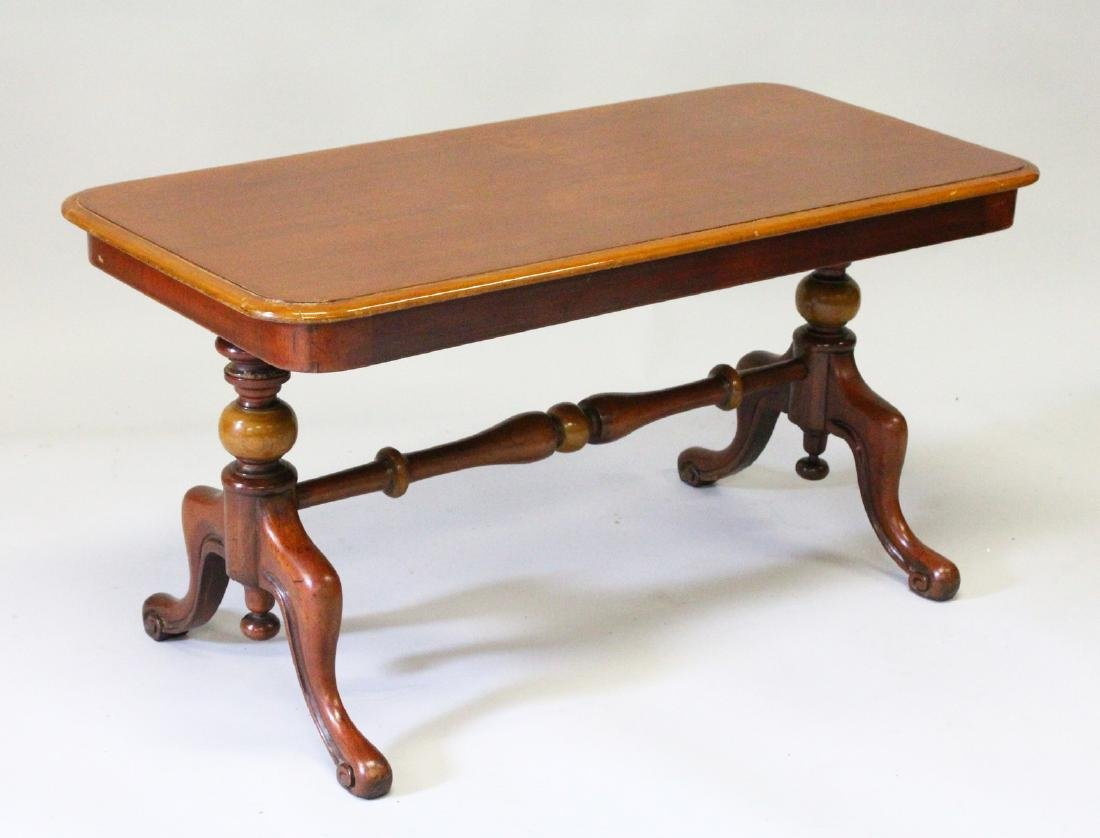 A VICTORIAN MAHOGANY RECTANGULAR TOP COFFEE TABLE with
