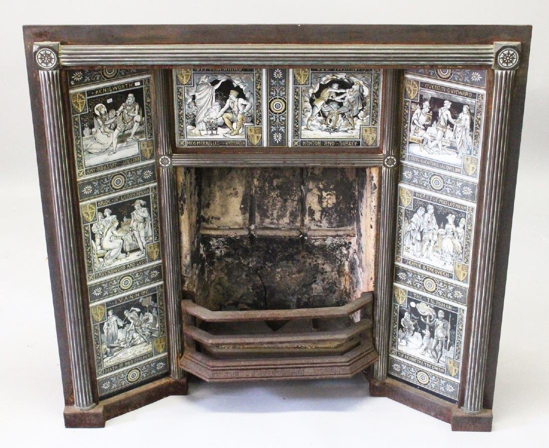 A VERY GOOD VICTORIAN CAST IRON FIREPLACE, inset with