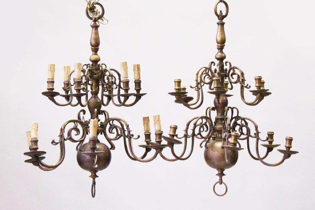 A PAIR OF 19TH CENTURY DUTCH BRASS TWO-ROW CHANDELIERS,
