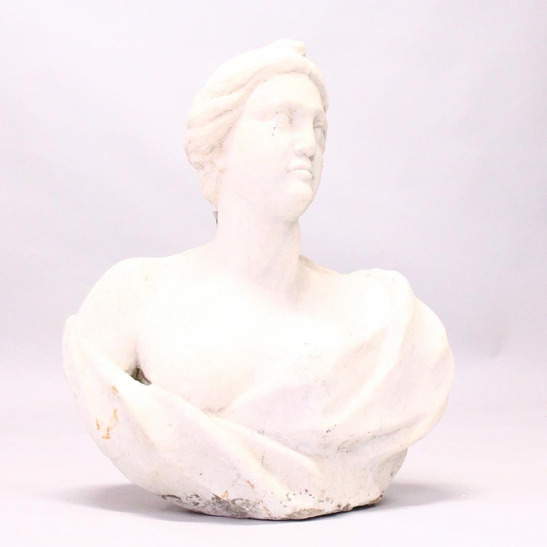 AN ITALIAN WHITE MARBLE CARVED FEMALE BUST.  2ft 2ins