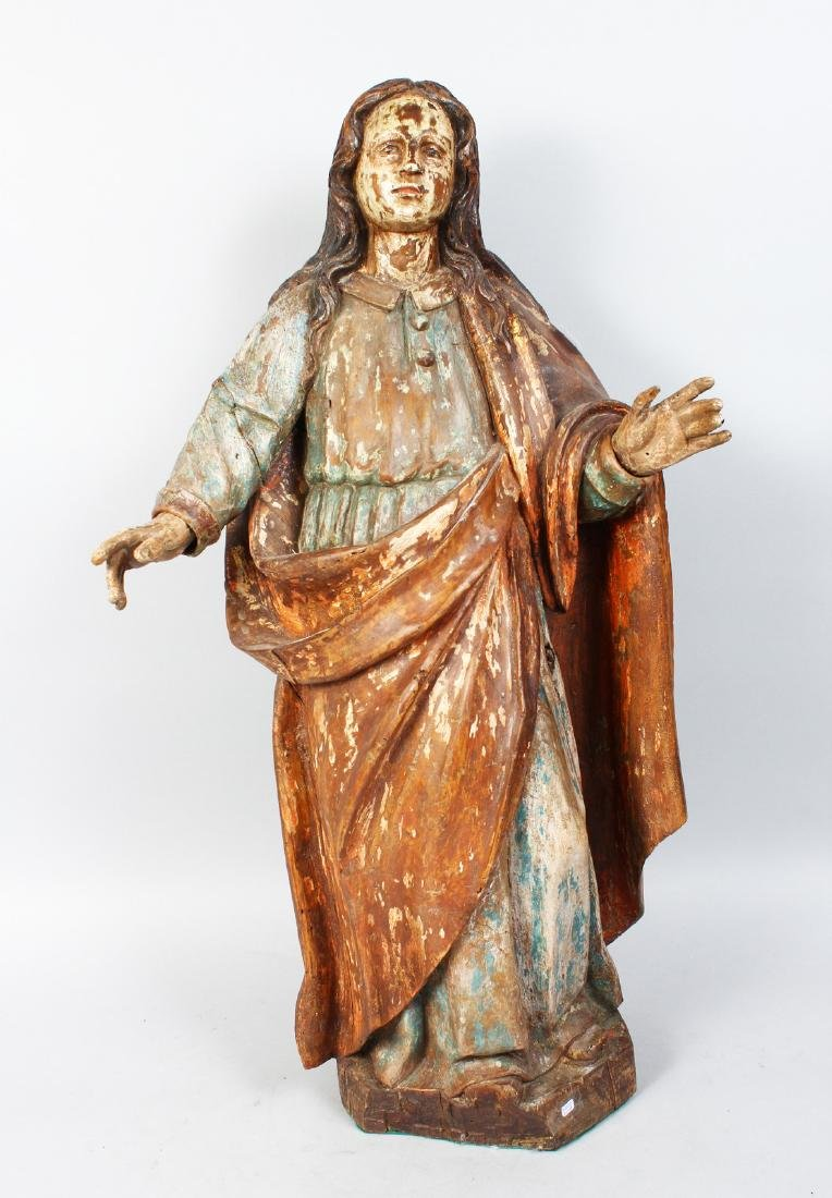 A 17TH-18TH CENTURY ITALIAN CARVED WOOD AND PAINTED