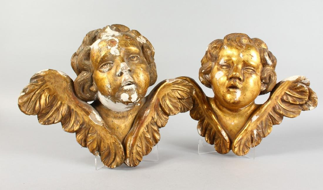 A PAIR OF ITALIAN CARVED WOOD AND GILDED ANGEL HEADS, - 2
