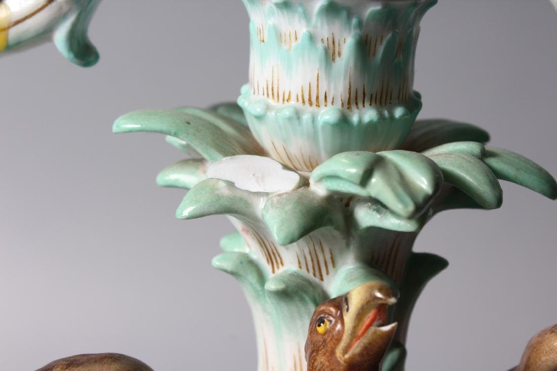A 19TH CENTURY MEISSEN FLOWER ENCRUSTED TWO-BRANCH - 3