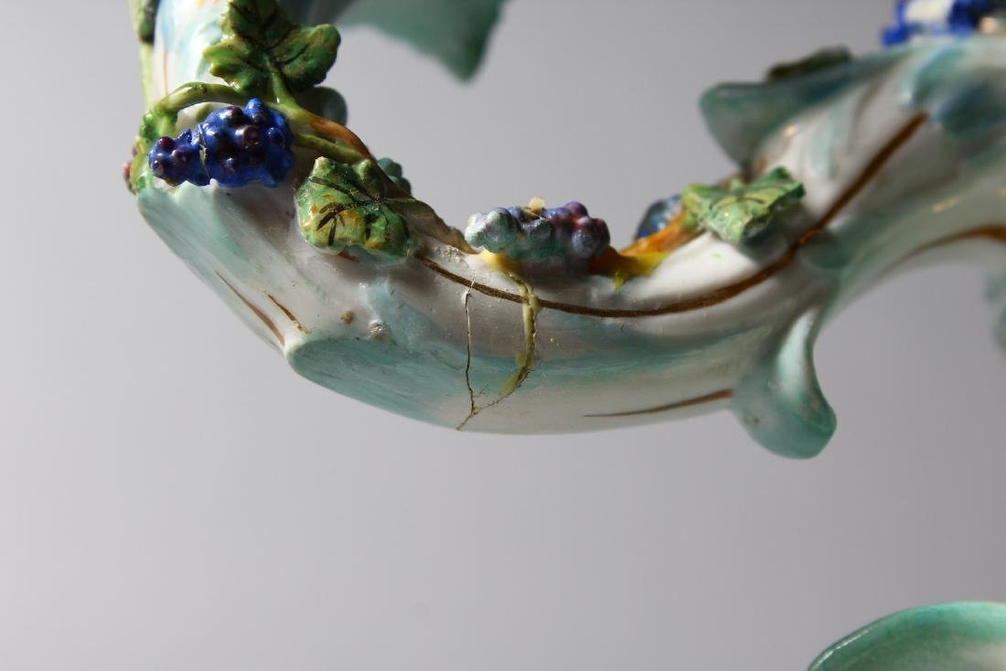 A 19TH CENTURY MEISSEN FLOWER ENCRUSTED TWO-BRANCH - 6