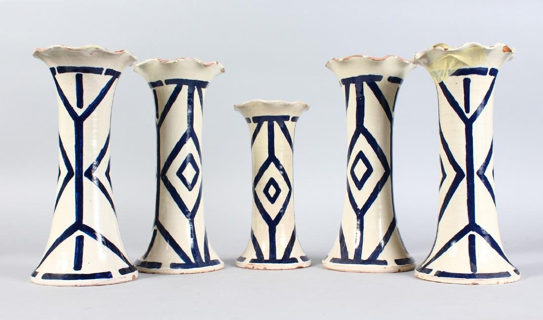 A GARNITURE OF FIVE ITALIAN POTTERY VASES.