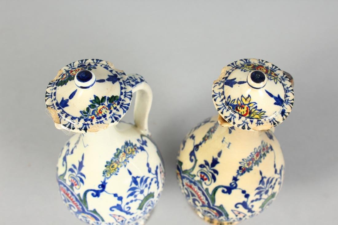 A SMALL PAIR OF FRENCH POTTERY OIL BOTTLES AND COVERS. - 3