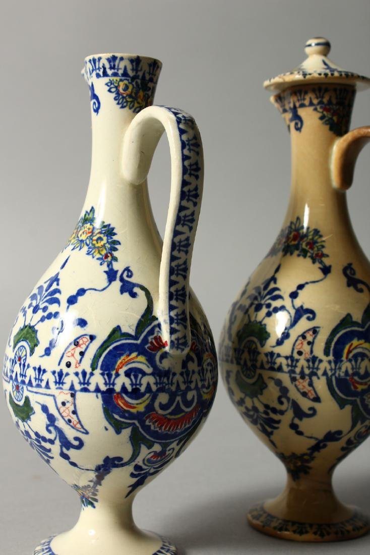 A SMALL PAIR OF FRENCH POTTERY OIL BOTTLES AND COVERS. - 4