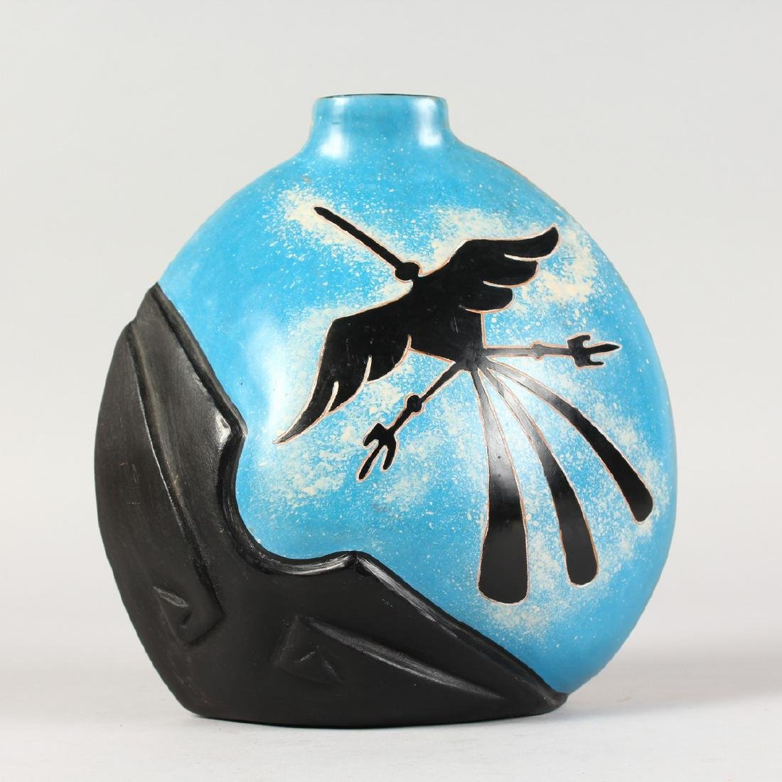 ROSA CARMEN, POTTERY VASE, painted with insects.