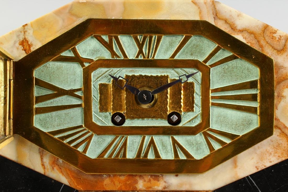 A 1920'S ART DECO MANTLE CLOCK with various coloured - 2