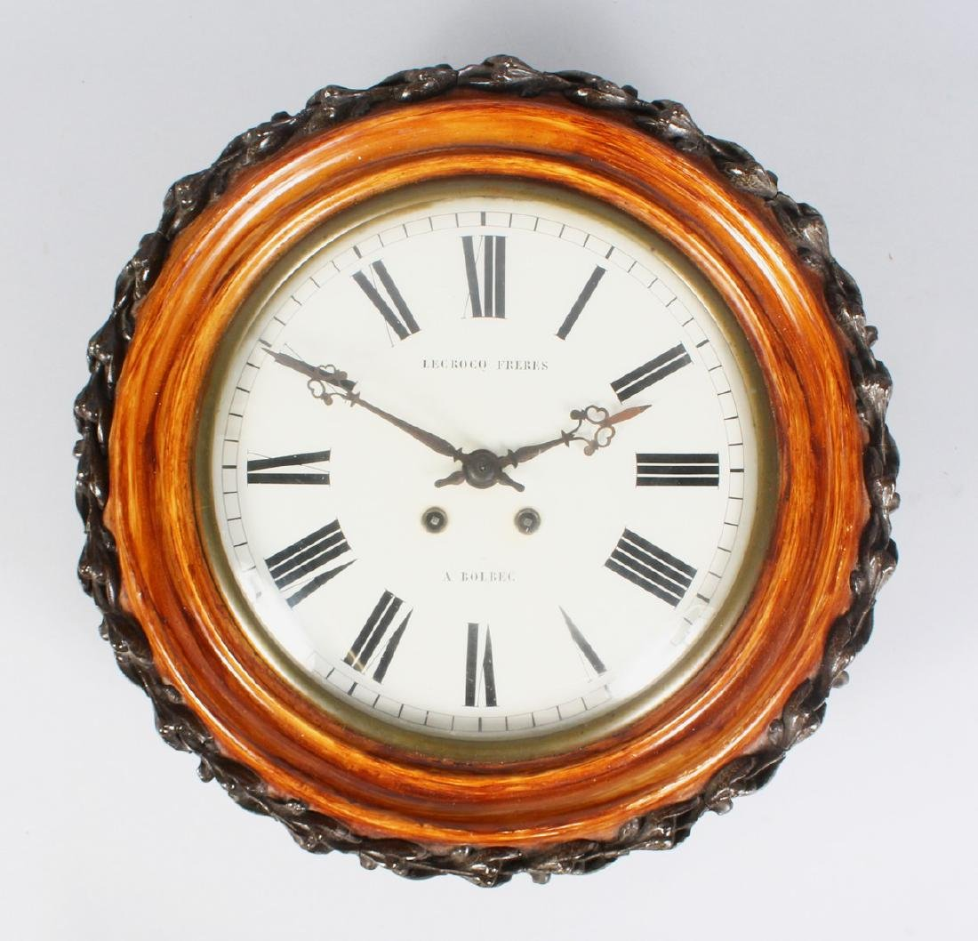 A 19TH CENTURY FRENCH WALL CLOCK, with circular painted