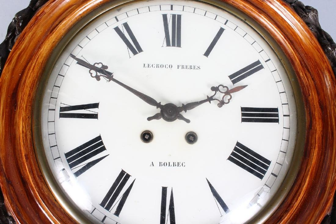 A 19TH CENTURY FRENCH WALL CLOCK, with circular painted - 2