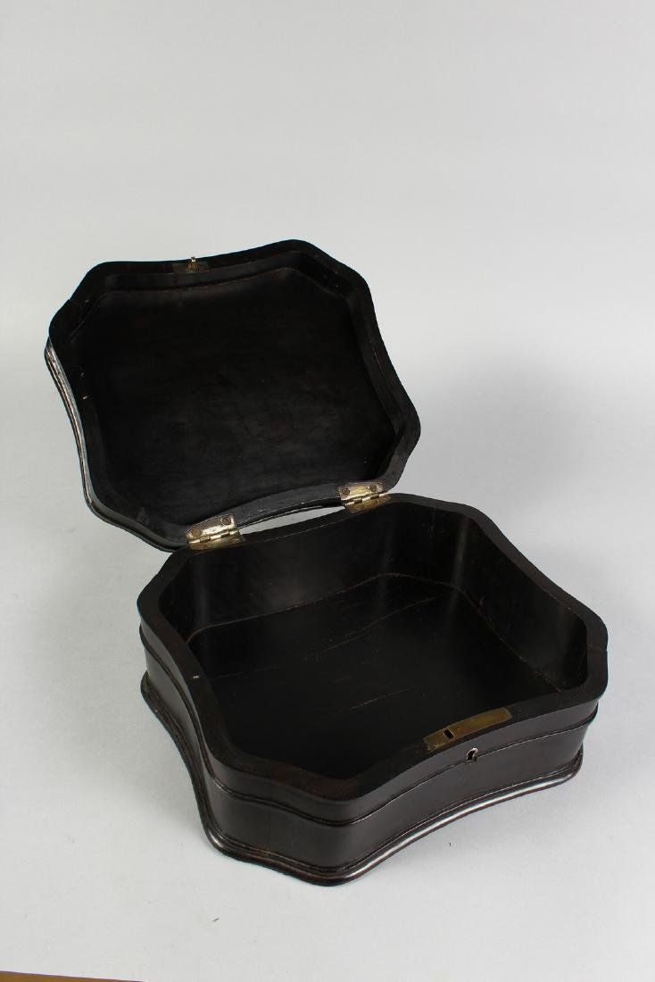 A GOOD ANGLO INDIAN CARVED EBONY BOX.  1ft long. - 3
