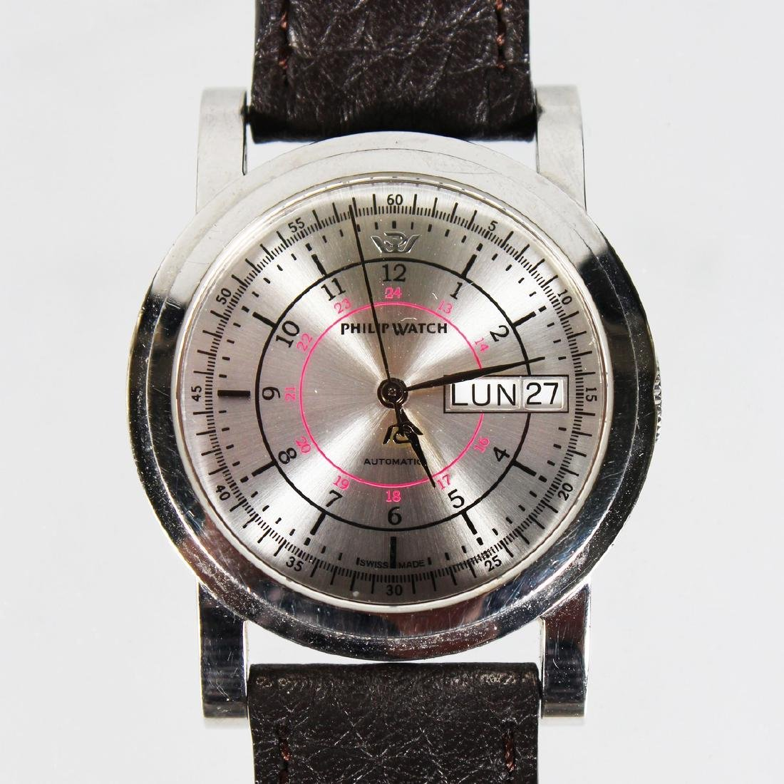 A GENTLEMAN'S PHILIP AUTOMATIC WRISTWATCH with leather