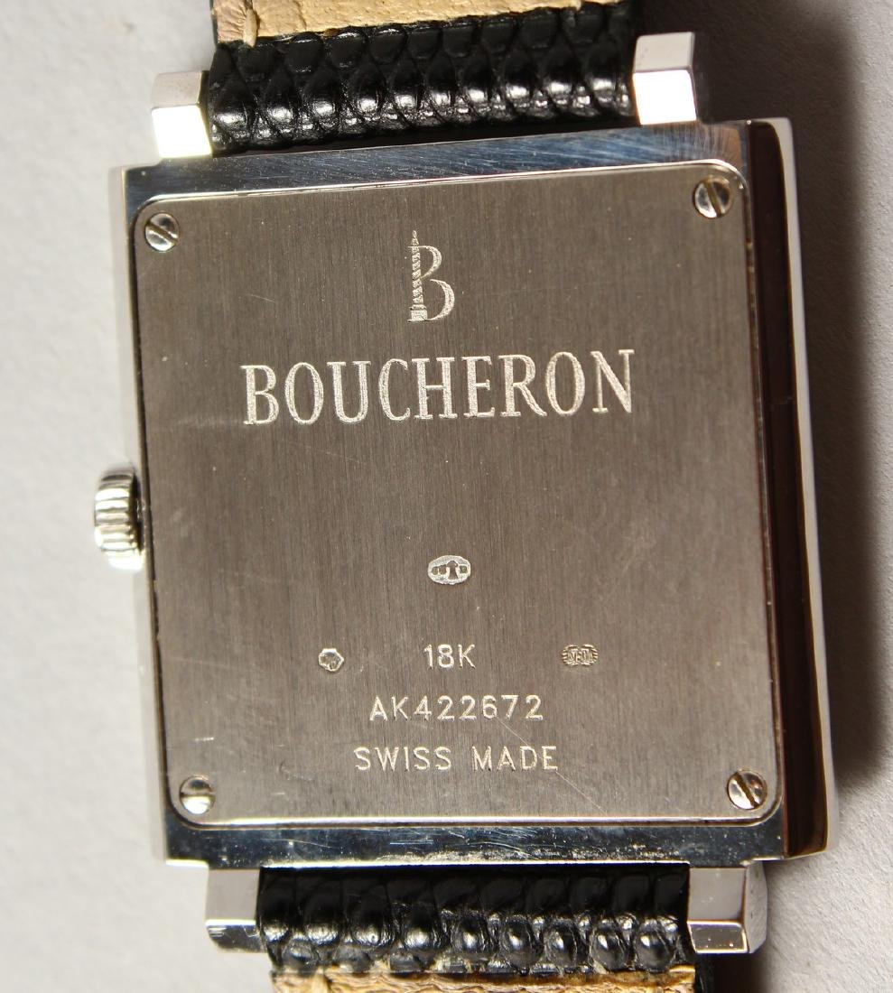 AN 18CT GOLD BOUCHERON WRISTWATCH, with leather strap, - 4