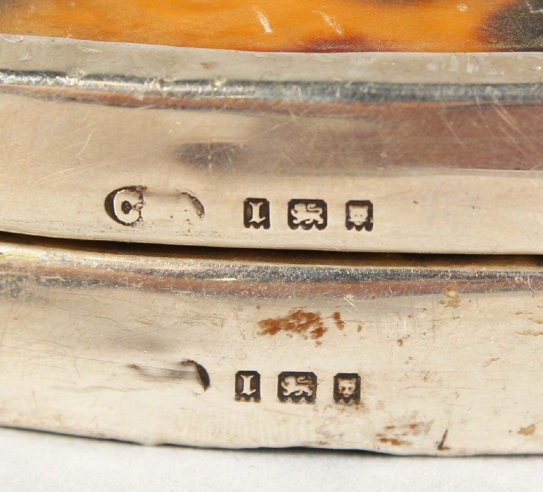 A PAIR OF SILVER MOUNTED TORTOISESHELL PLAQUES.  London - 4