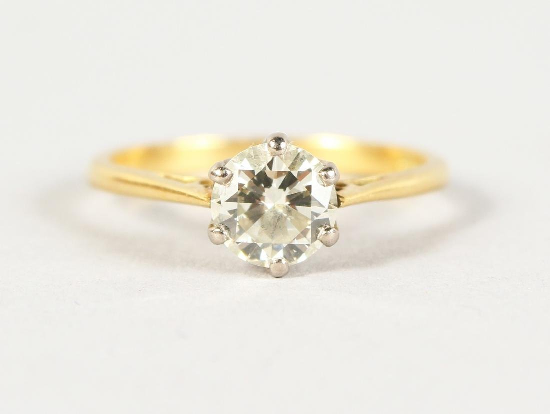 A VERY GOOD DIAMOND SOLITAIRE RING in 18ct gold.