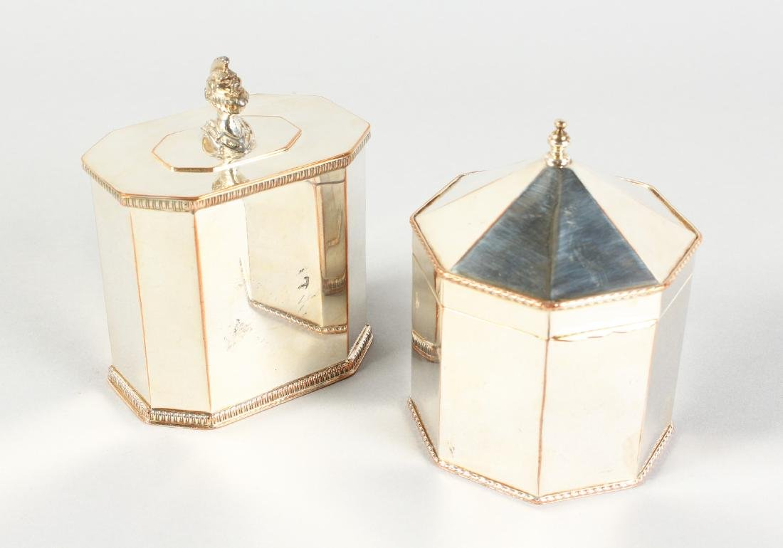 AN OLD SHEFFIELD PLATE OCTAGONAL TEA CADDY and another