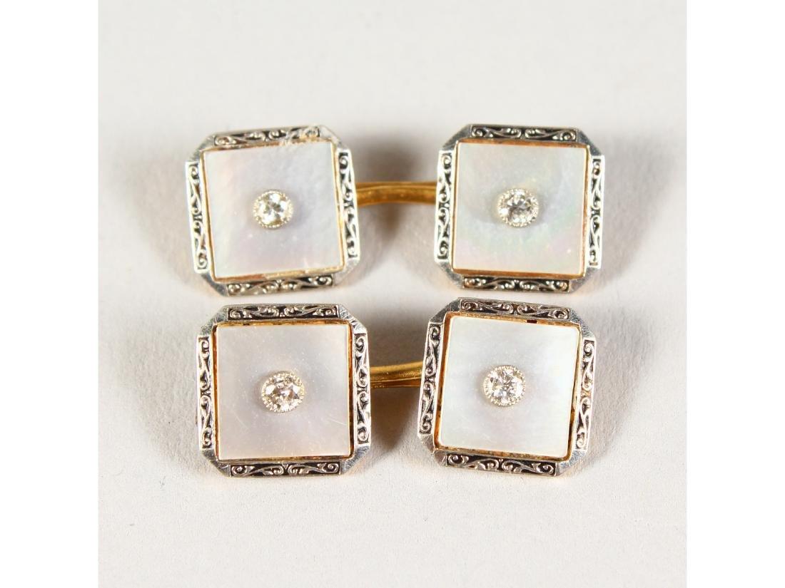 A PAIR OF LADIES 18CT GOLD, PLATINUM AND DIAMOND SET