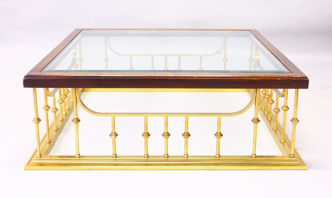 A LARGE MAHOGANY AND BRASS, GLASS TOP COFFEE TABLE,
