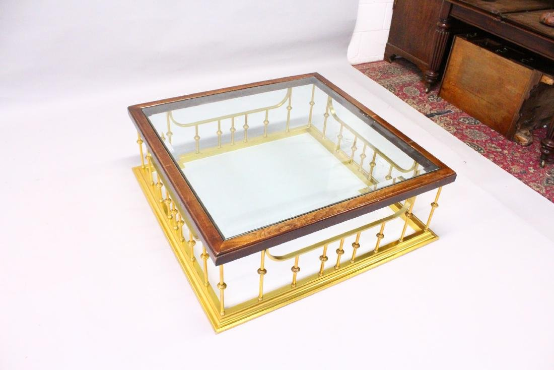 A LARGE MAHOGANY AND BRASS, GLASS TOP COFFEE TABLE, - 2