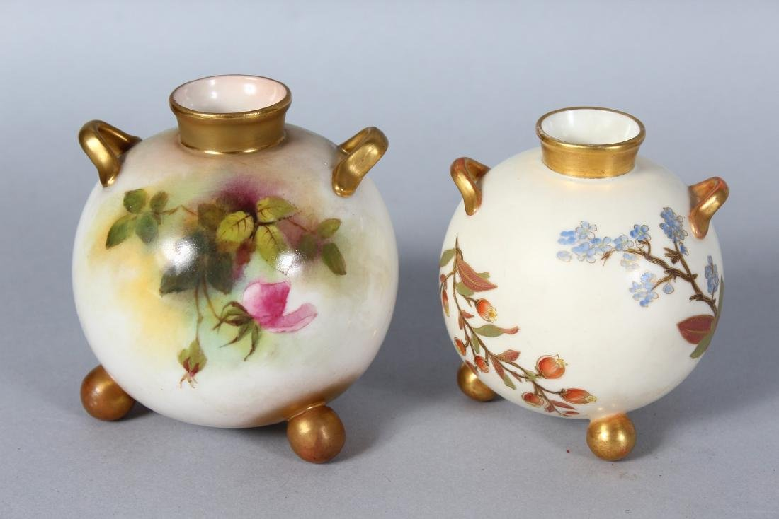 A ROYAL WORCESTER SPHERICAL TWO-HANDLED VASE on three - 2
