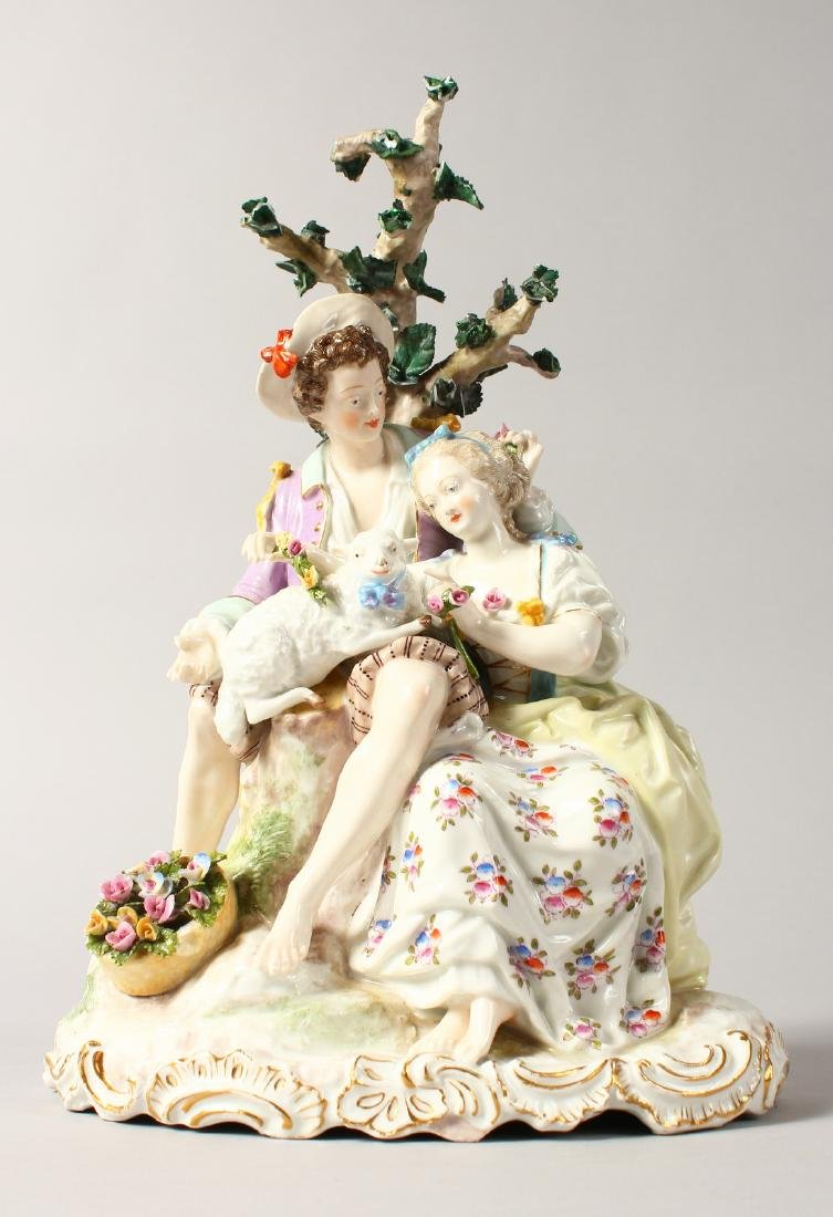 A GOOD CONTINENTAL MEISSEN DESIGN OVAL GROUP, a young