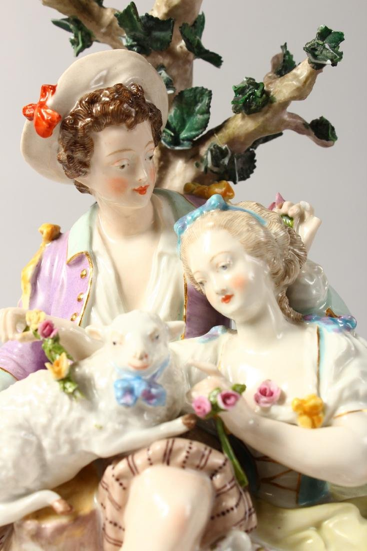 A GOOD CONTINENTAL MEISSEN DESIGN OVAL GROUP, a young - 2