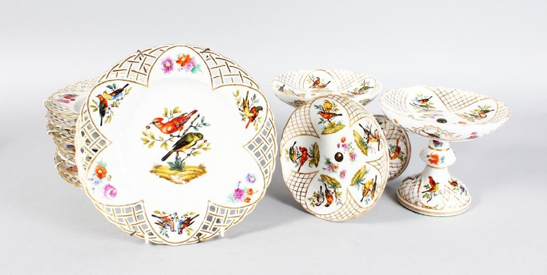 A BERLIN PIERCED DESSERT SERVICE, painted with