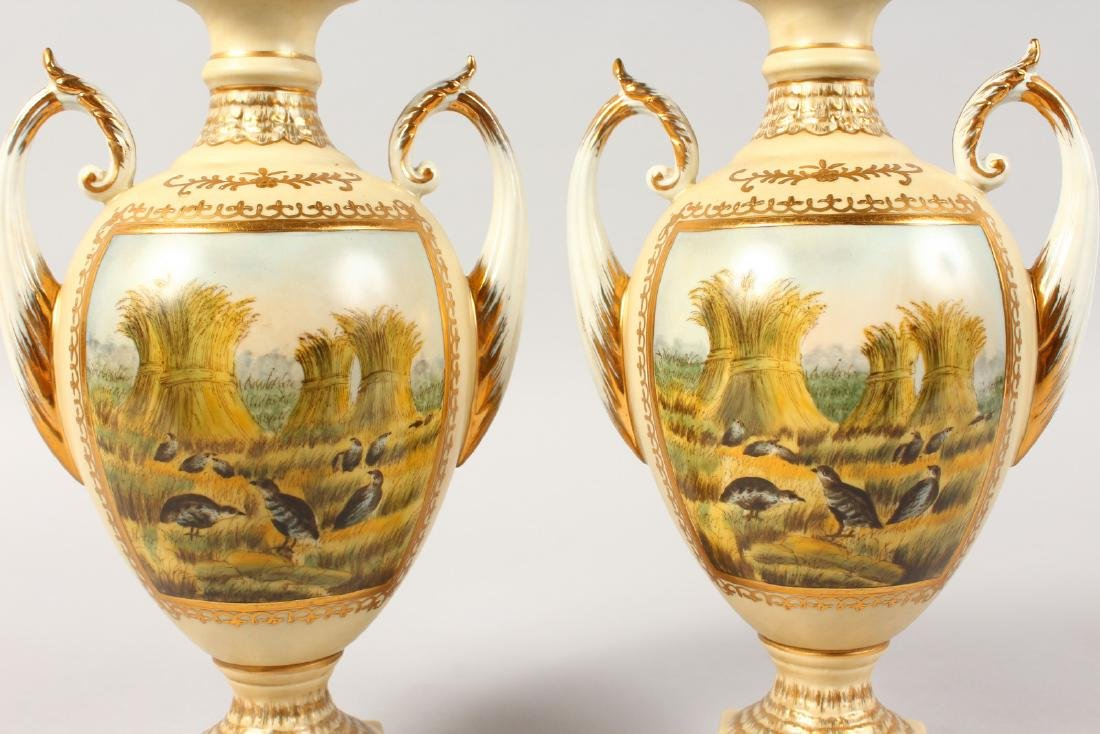 A PAIR OF CONTINENTAL PORCELAIN TWIN-HANDLED VASES AND - 5
