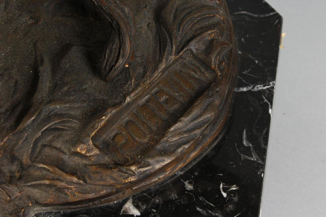 A LARGE BRONZE GROUP OF A YOUNG MAN TRYING TO RESTRAIN - 3