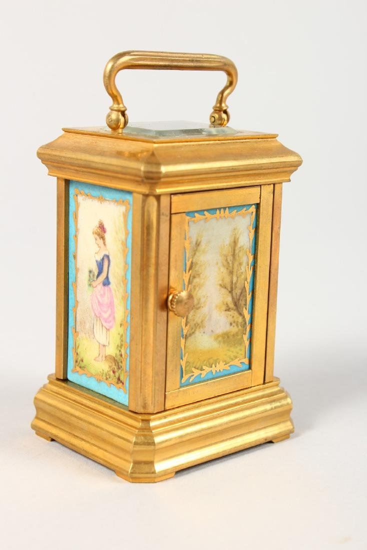 A SEVRES STYLE MINIATURE CARRIAGE CLOCK, with porcelain - 2