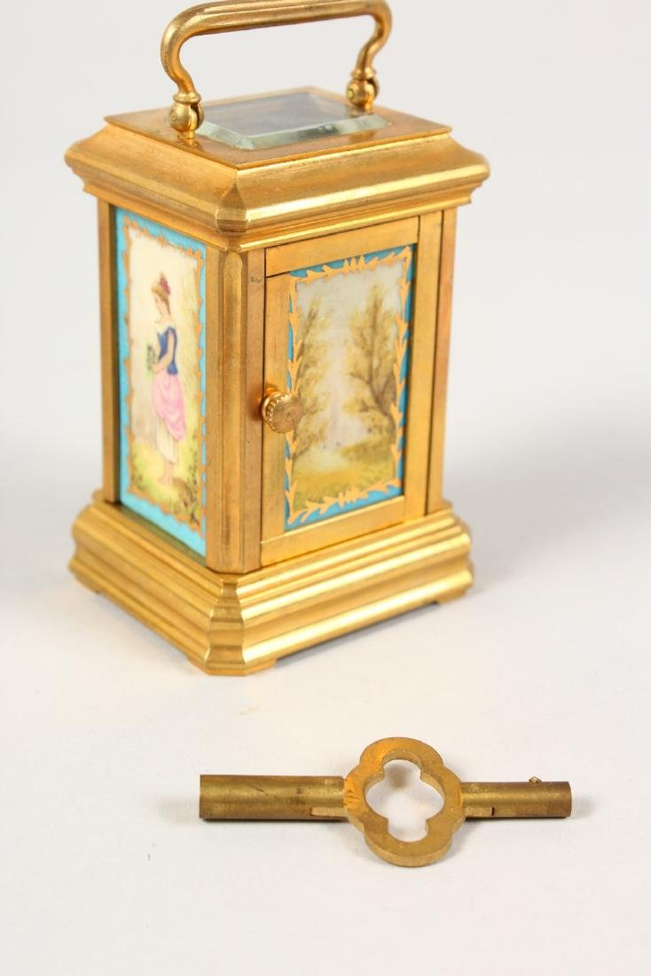 A SEVRES STYLE MINIATURE CARRIAGE CLOCK, with porcelain - 4