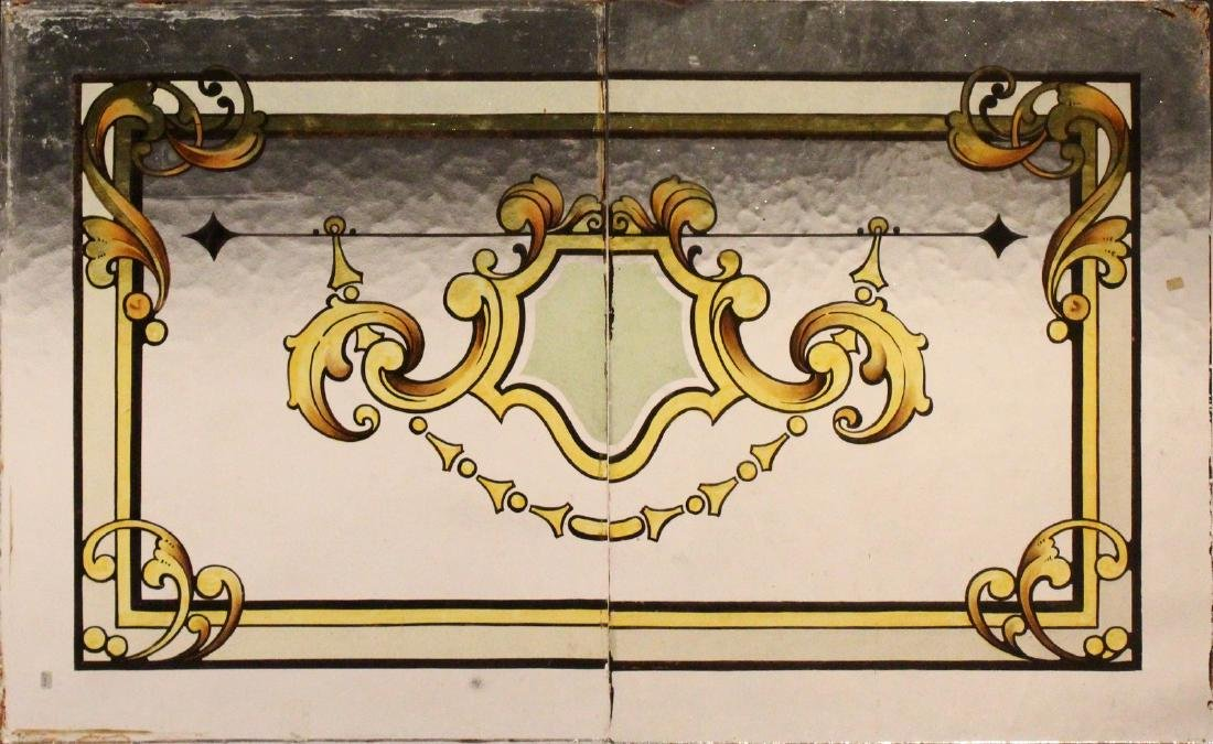 FOUR PAIRS OF PAINTED GLASS WINDOW PANELS.  Each Pair: