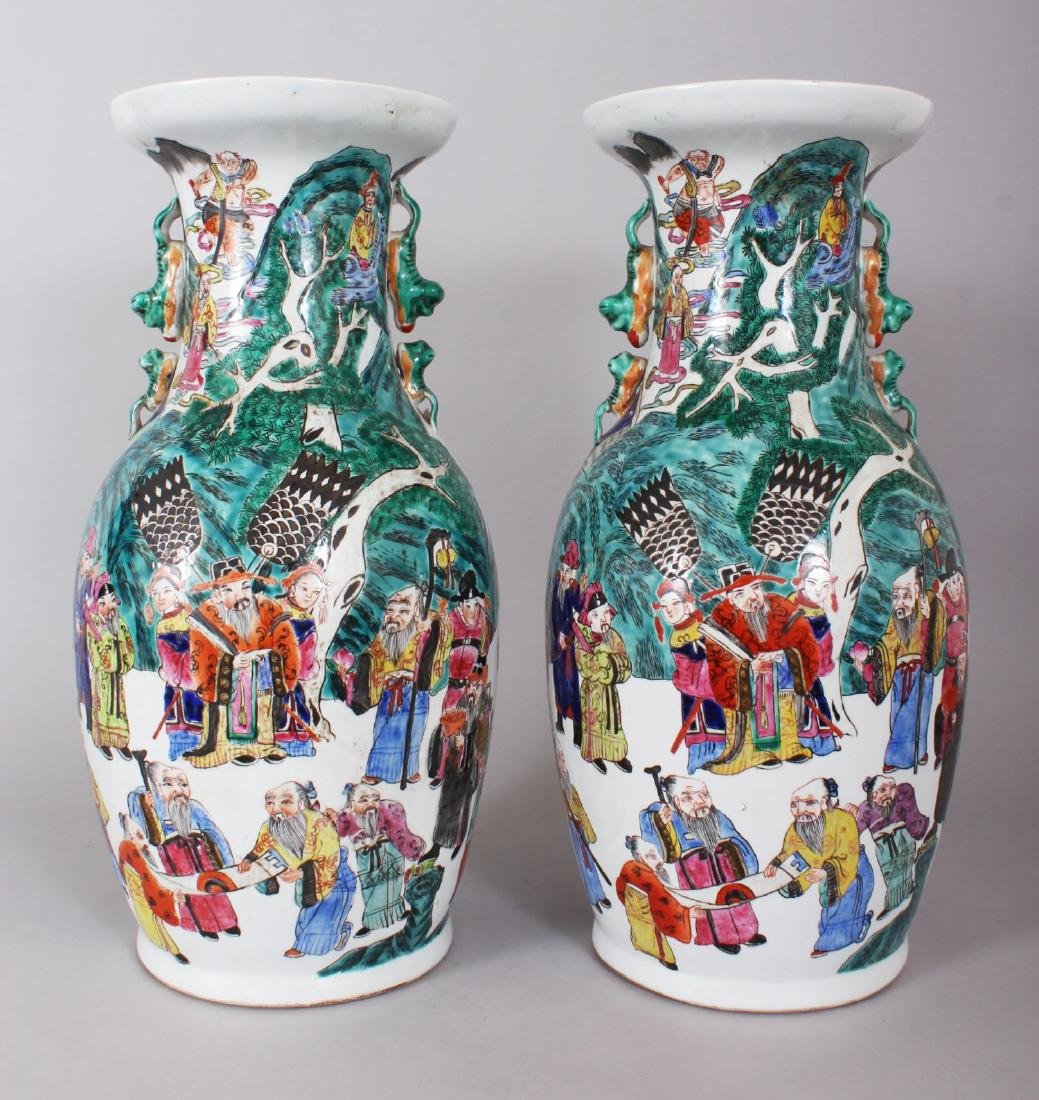 A GOOD PAIR OF LARGE CHINESE VASES, with dragon