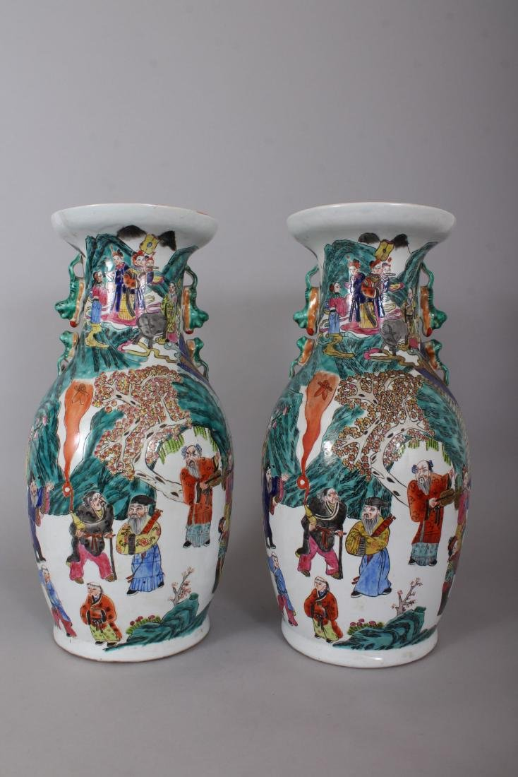 A GOOD PAIR OF LARGE CHINESE VASES, with dragon - 3