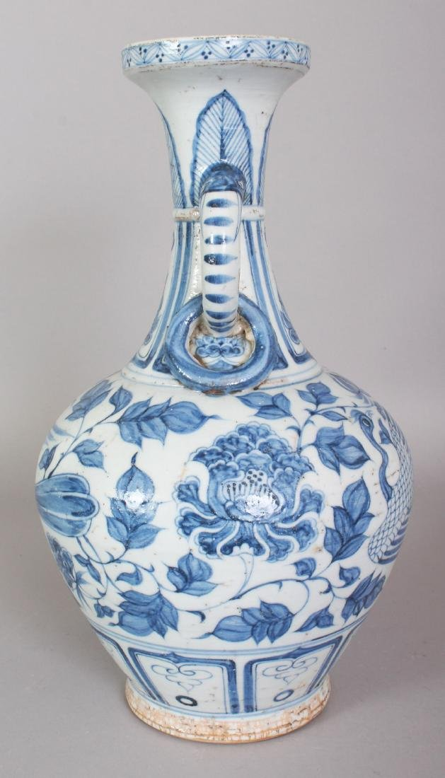 A CHINESE YUAN STYLE BLUE & WHITE PORCELAIN PHOENIX - 4