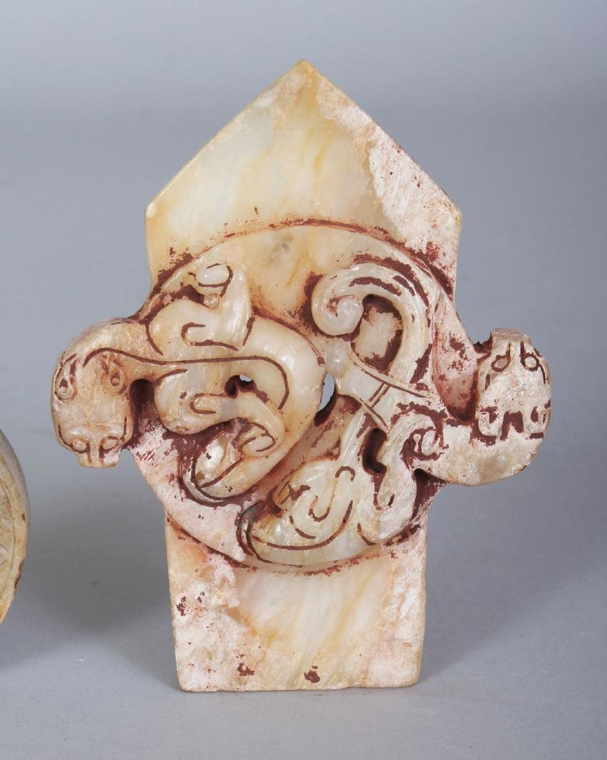 A GROUP OF THREE ARCHAIC STYLE JADE-LIKE CARVINGS, the - 4
