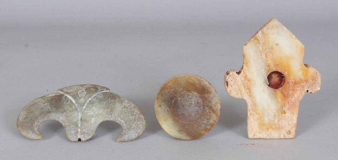 A GROUP OF THREE ARCHAIC STYLE JADE-LIKE CARVINGS, the - 5