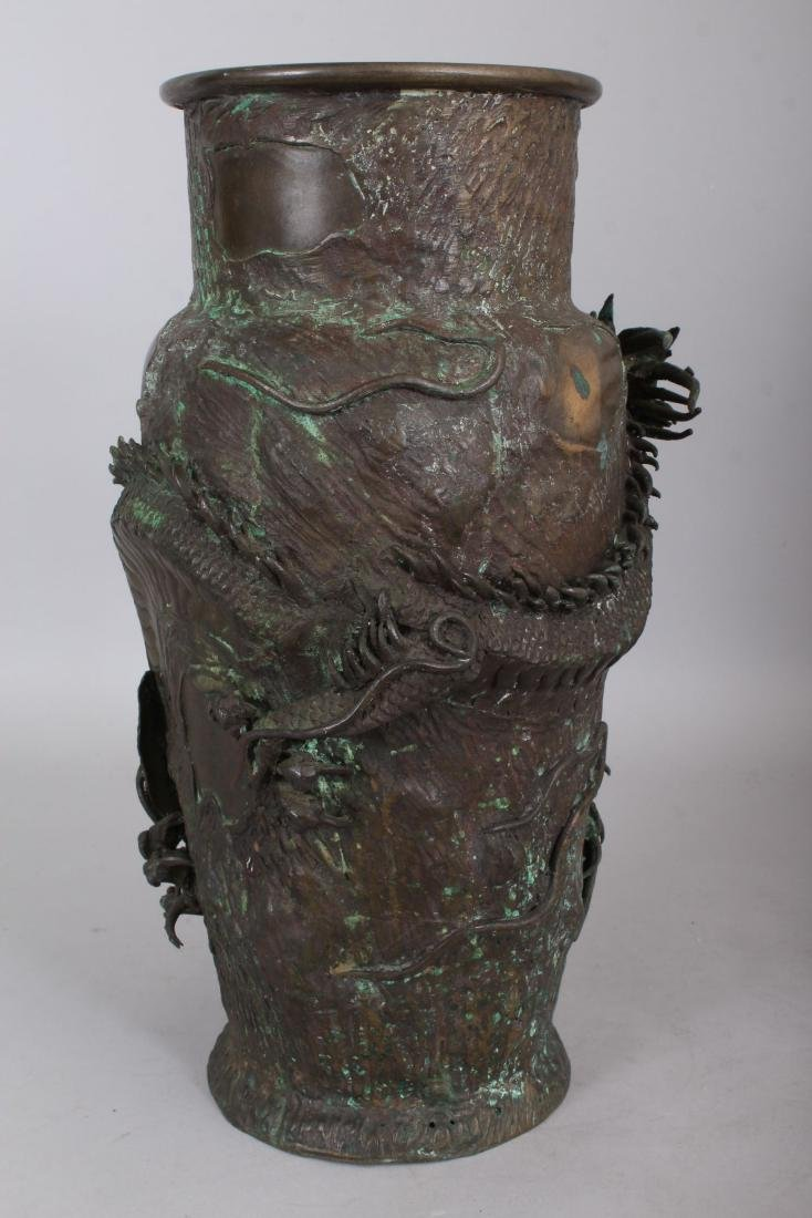 A JAPANESE BRONZE VASE, cast with an entwined dragon. - 2