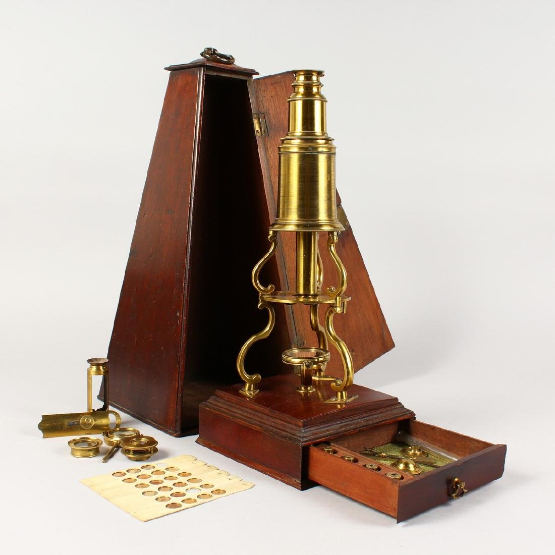 AN 18TH CENTURY BRASS CULPEPER MICROSCOPE by LINCOLN,