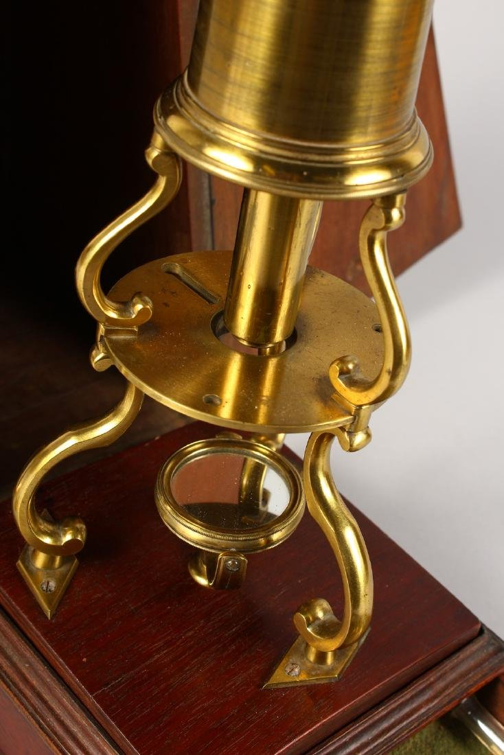 AN 18TH CENTURY BRASS CULPEPER MICROSCOPE by LINCOLN, - 3