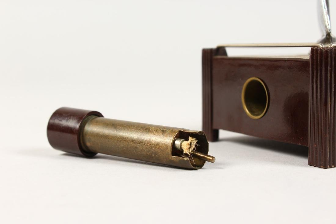 """A DUNHILL BAKELITE """"SILENT FLAME"""" TABLE LIGHTER, - 2"""