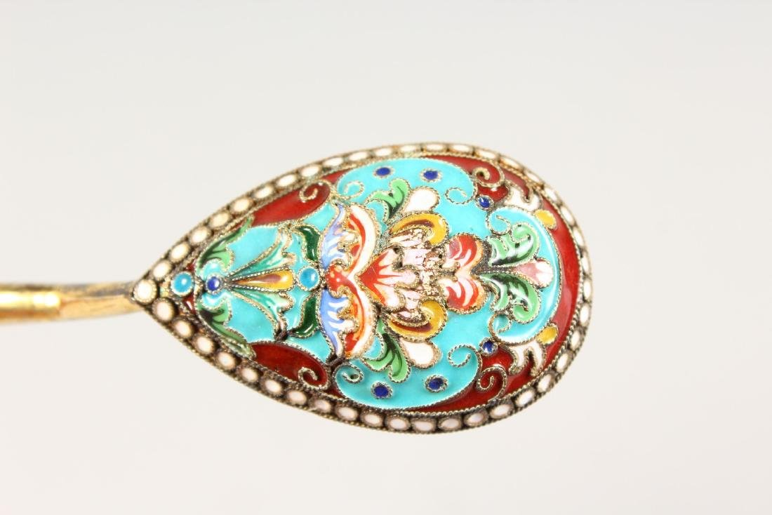 A SET OF SIX RUSSIAN SILVER AND ENAMEL DECORATED - 2
