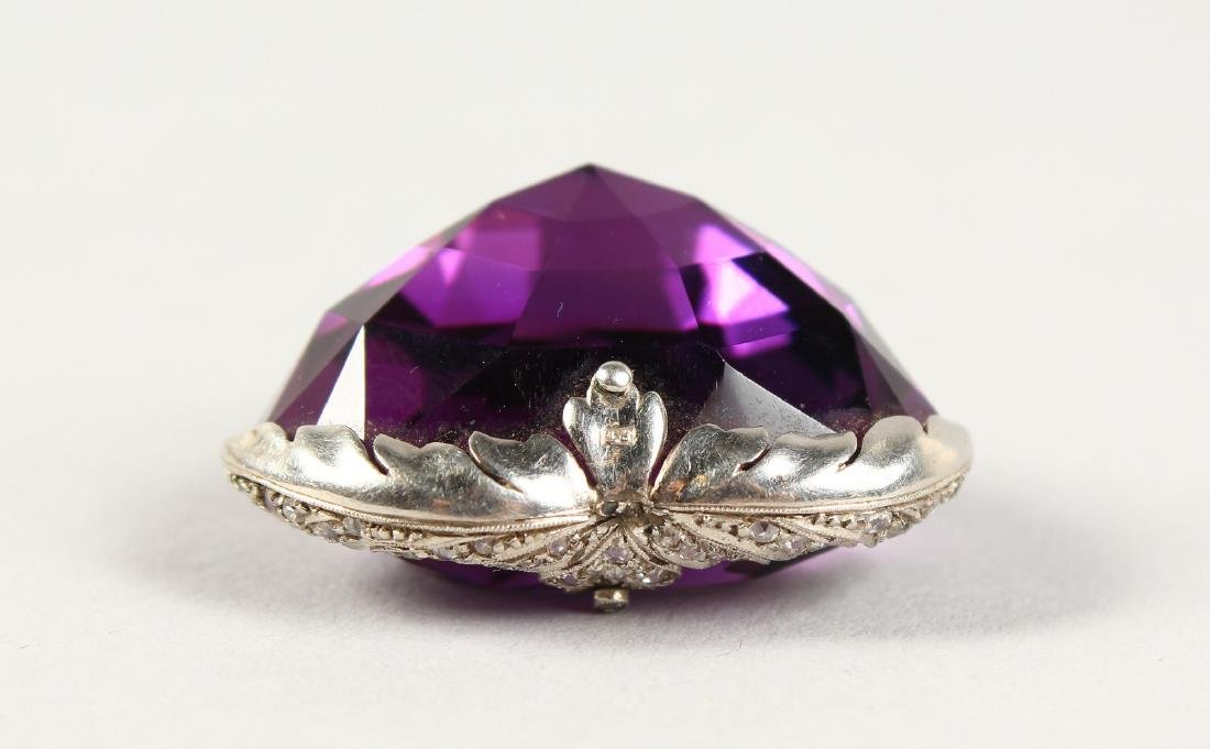 A LARGE HEART SHAPED DIAMOND MOUNTED AMETHYST PENDANT. - 4