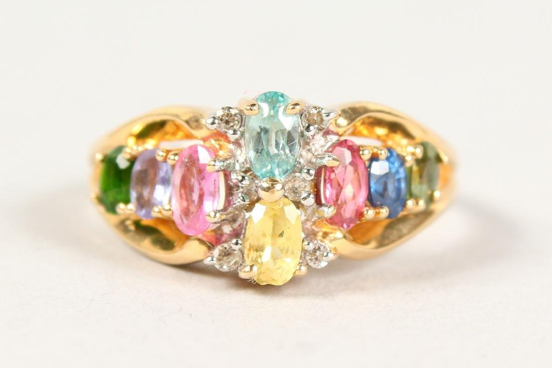 AN 18CT GOLD MULTI-COLOUR RING. - 2
